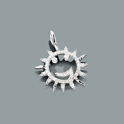 Gold Diamond Smiley Face Pendant 0.19ct 10K Sun Charm
