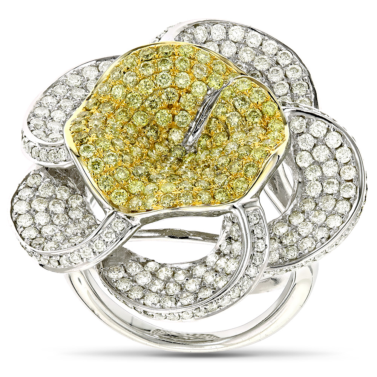 Gold Natural Yellow Diamond Flower Ring 14K 3.58ct