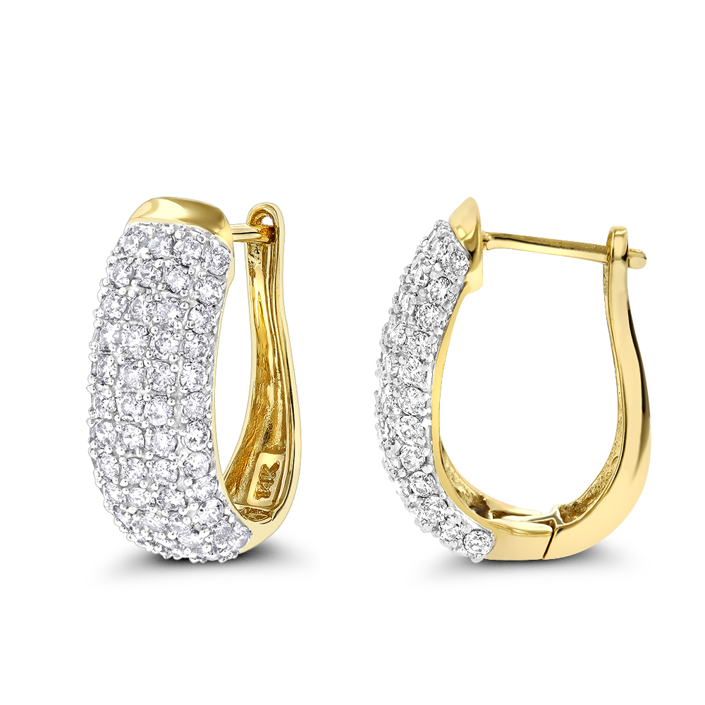Gold Pave Diamond Hoop Earrings 1.5ct 14K Gold