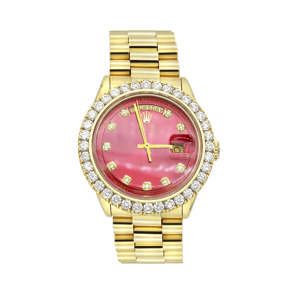Gold Rolex Watch for Men with Diamond Bezel 4.5ct Datejust Oyster Perpetual