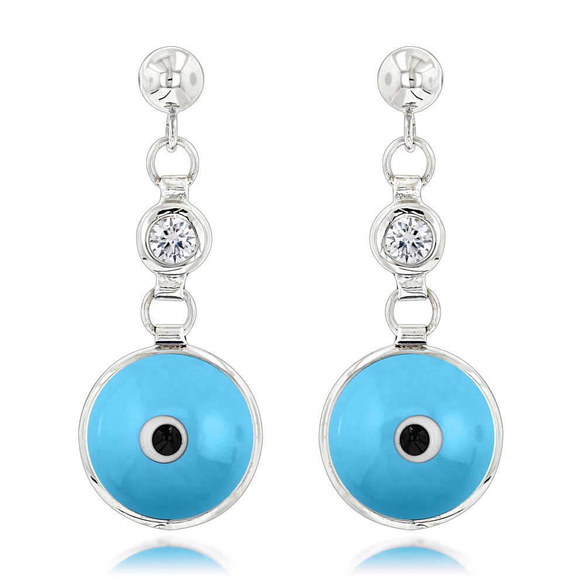 Good Luck Charms 14K Diamond Evil Eye Earrings 0.20ct