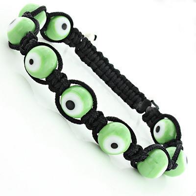Green Evil Eye Bracelet - Beaded Jewelry Macrame Style
