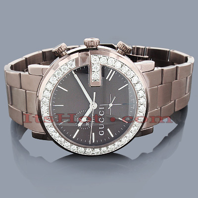 Gucci Watches Chrono Mens Diamond Watch 3.10ct Brown