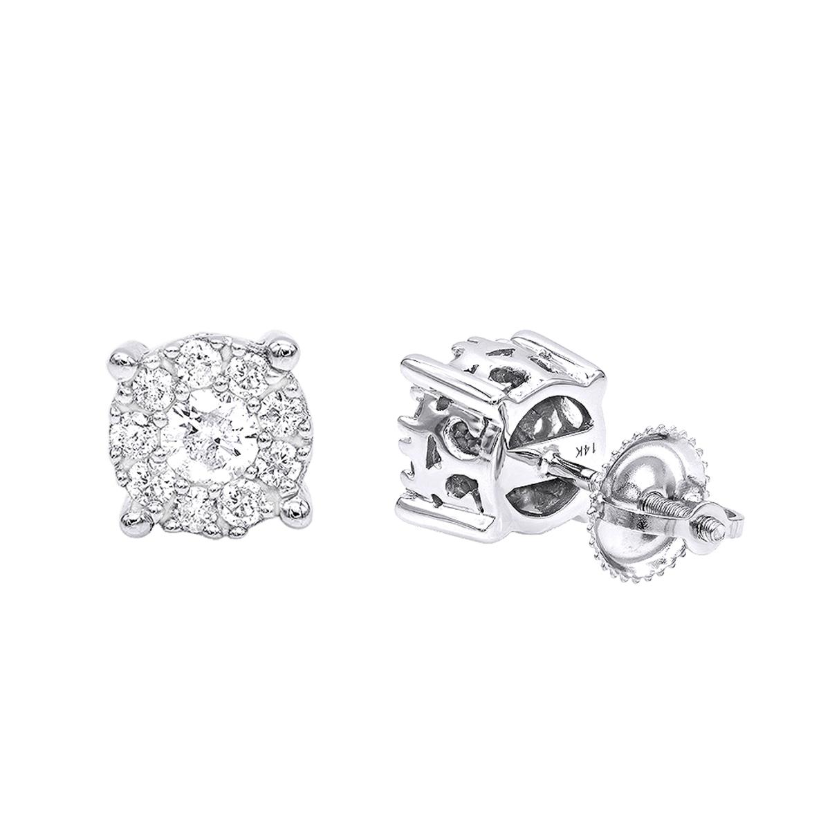 Halo 14K Gold Cluster Diamond Earrings Studs for Men or Women 3/4ct