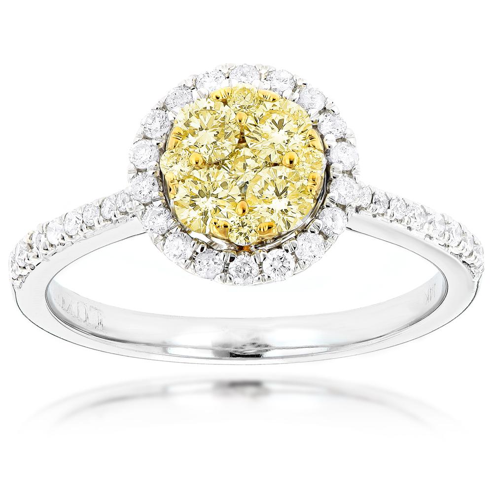 Halo 14K Gold White Yellow Diamond Ladies Cluster Engagement Ring 0.8ct