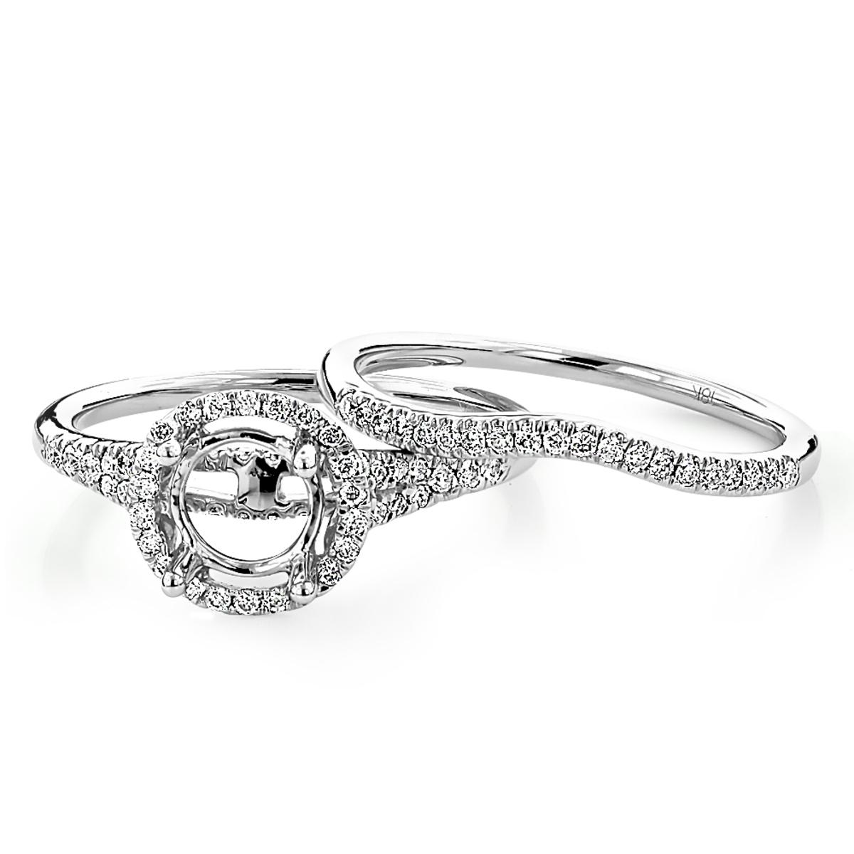 Halo 18K Gold Ladies Round Diamond Engagement Ring Mounting Set 0.54ct