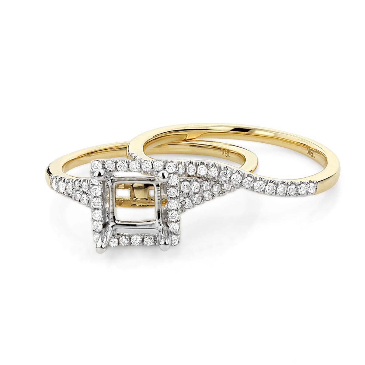 Halo 18K Gold Princess Cut Diamond Engagement Ring Mounting Set 0.48ct