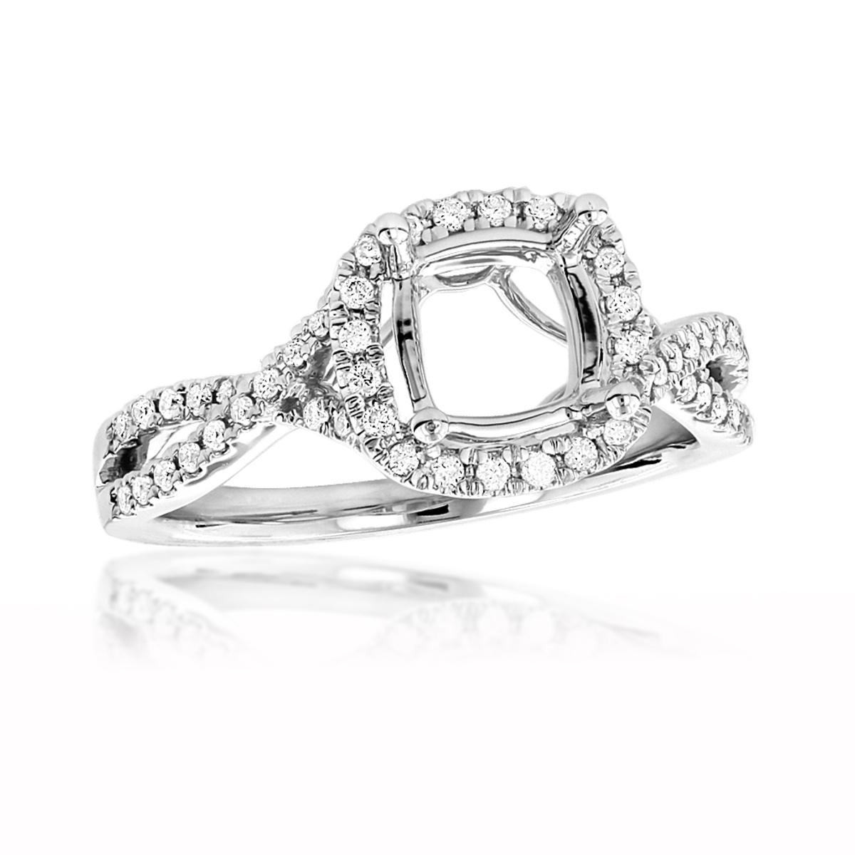 Halo Cushion Cut Diamond Engagement Ring Mounting 0.4ct 18K Gold