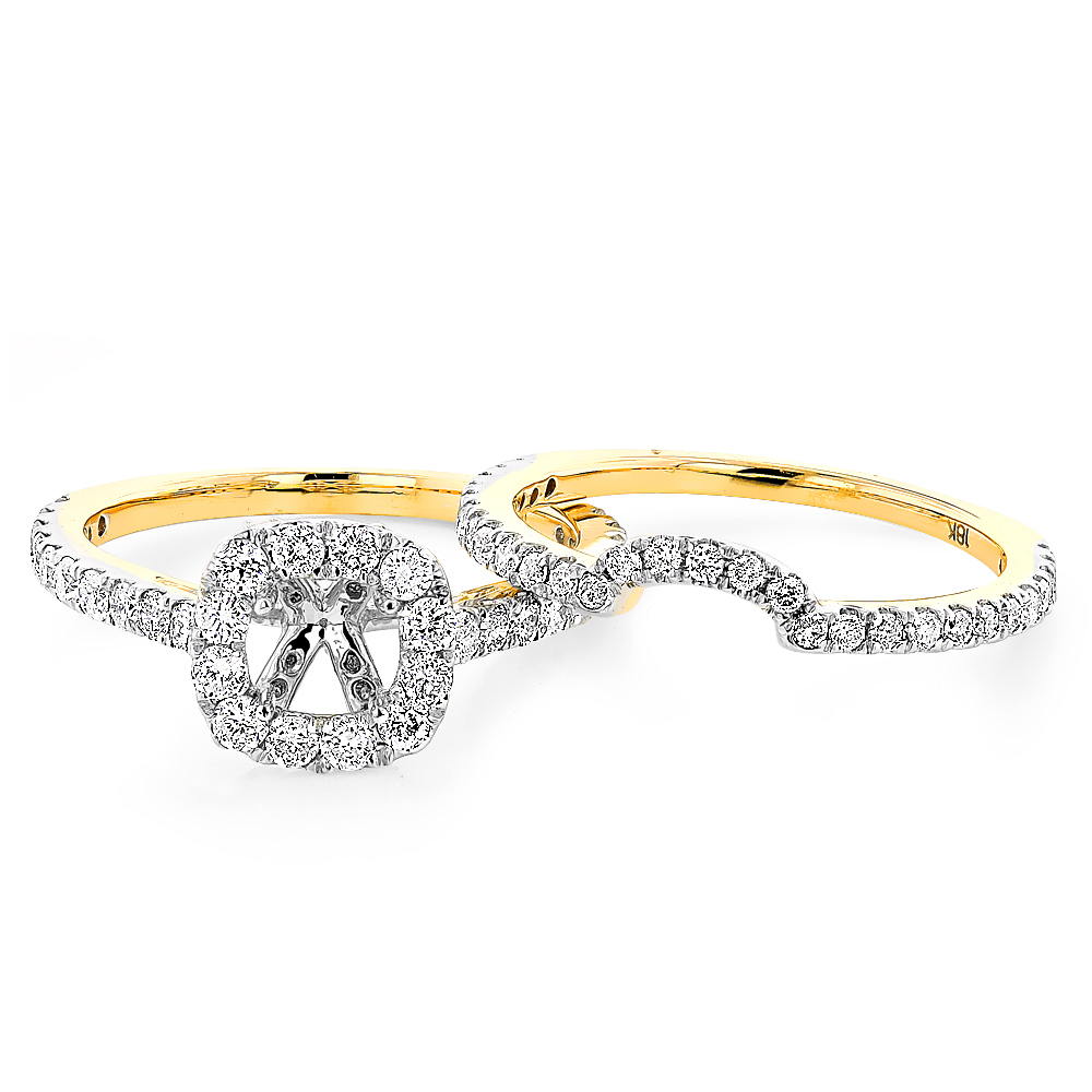 Halo Cushion Diamond Engagement Ring Mounting and Band Set 18K Gold 1.59ct