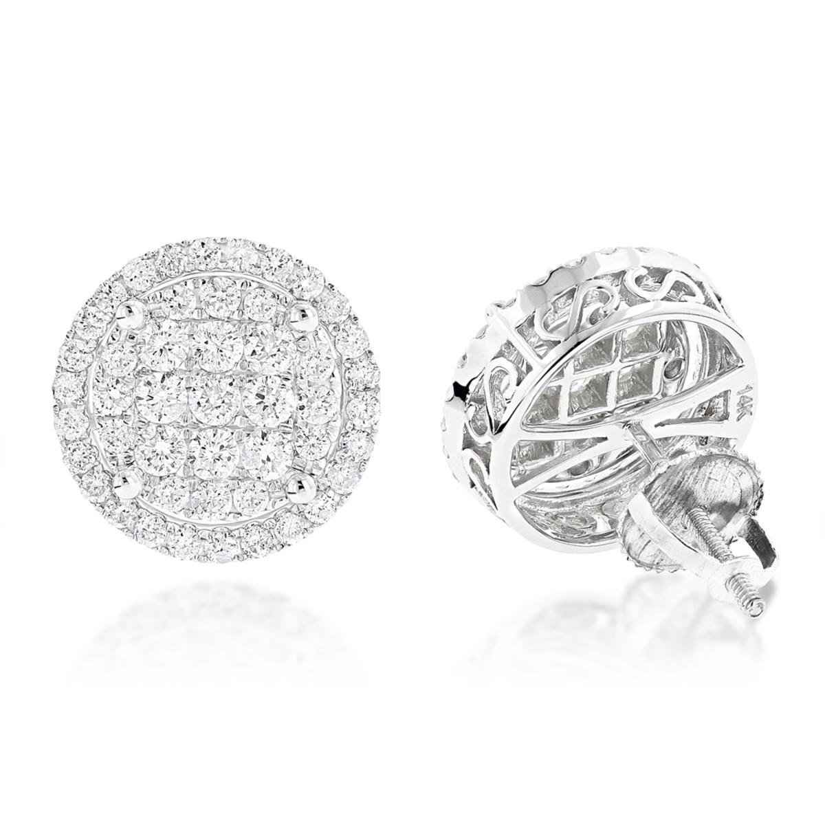 Halo Diamond Cluster Earrings Studs 1.61ct 14K Gold