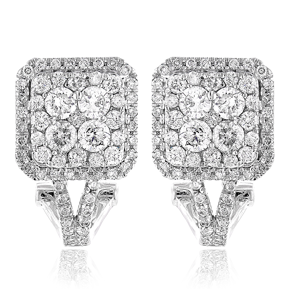 Halo Diamond Earrings Square Clusters 14k Gold 1.6ct