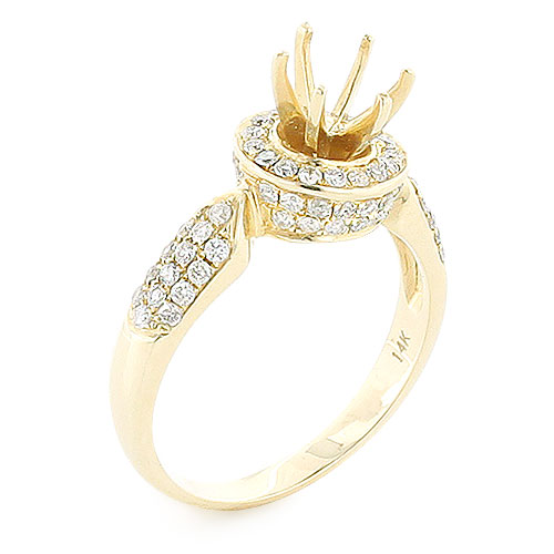 Halo Diamond Engagement Ring Mounting 0.78ct 14K Gold