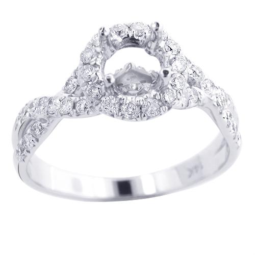 Halo Diamond Engagement Ring Setting 0.78ct 14K Gold