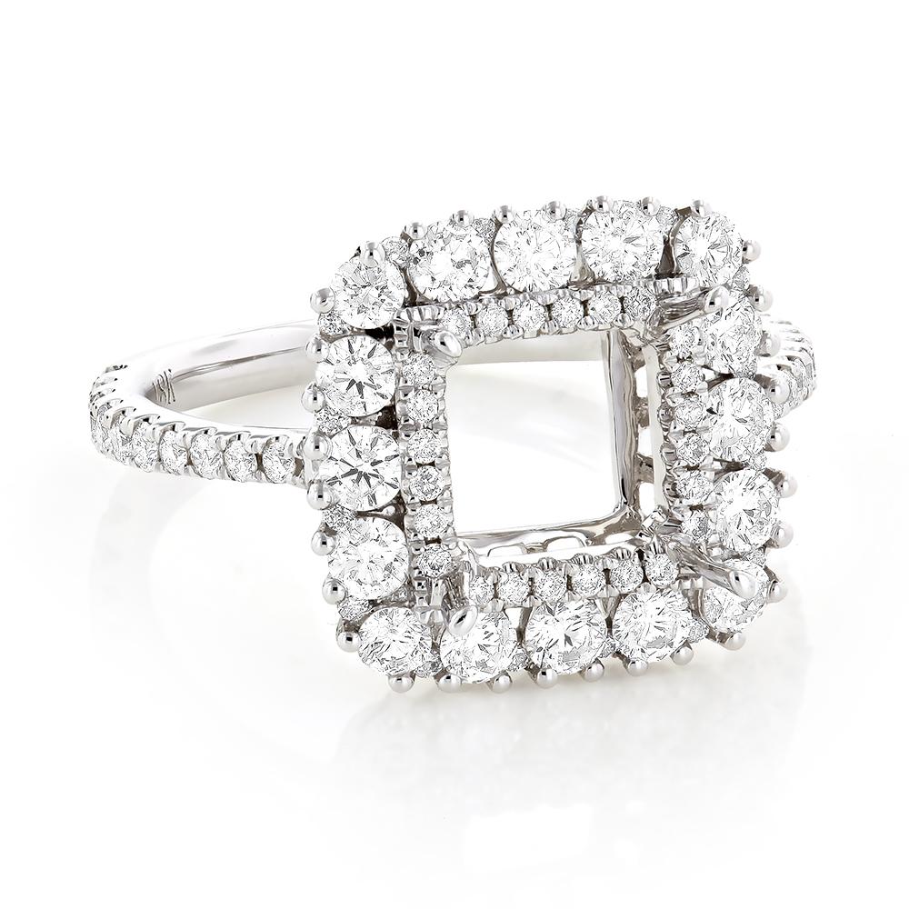 Halo Diamond Engagement Ring Setting 1.55ct 18K Gold