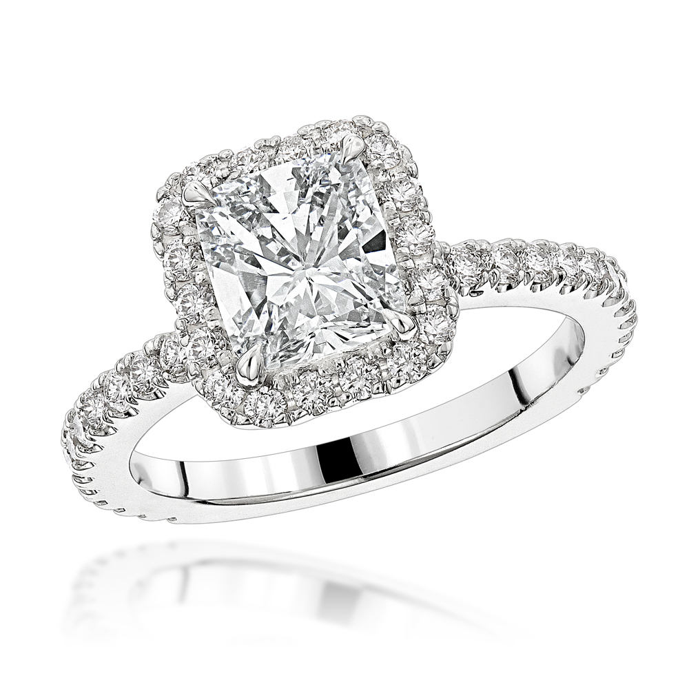 Halo GIA Cushion Cut Diamond Engagement Ring 2.4ct in 14K Gold by Luxurman