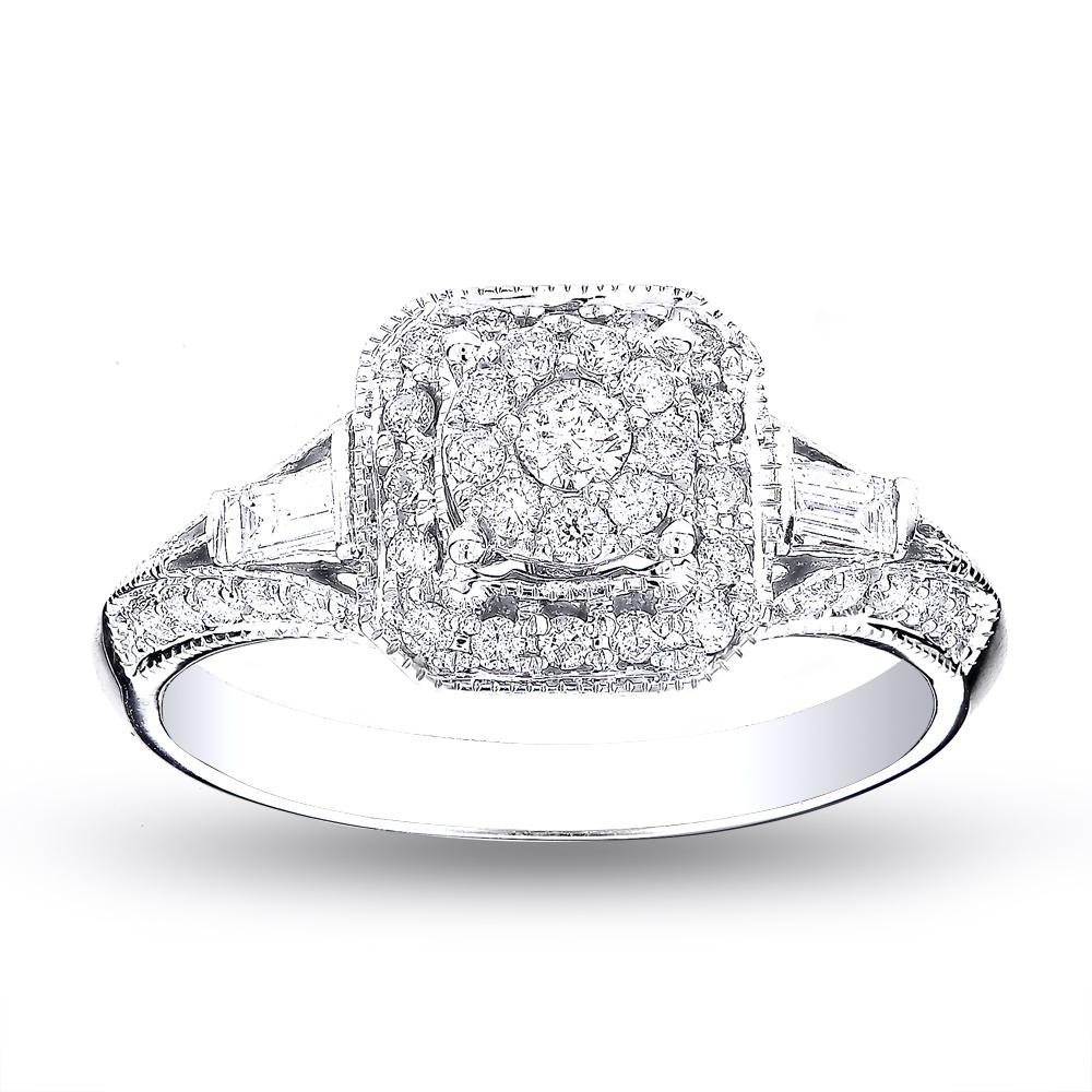 Halo Ladies 14K Gold Inexpensive Diamond Engagement Ring 0.91ct