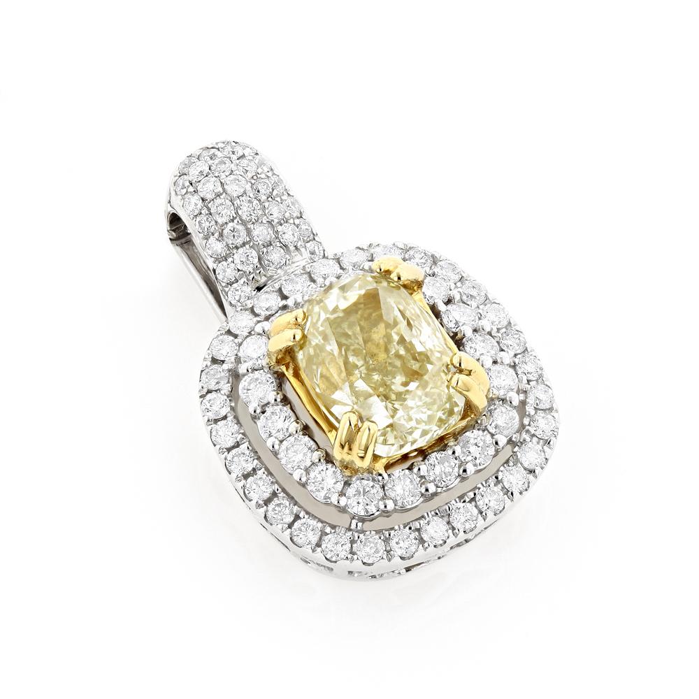 Halo Natural Yellow Cushion Cut Diamond Pendant for Women 3ct 18K White Gold