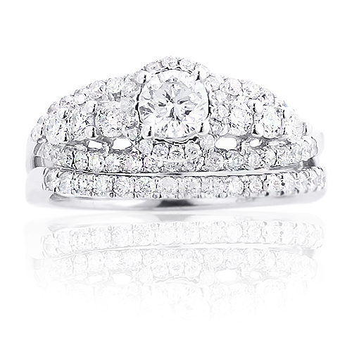 Halo Round Diamond Engagement Ring Set 14K Gold 1.88ct