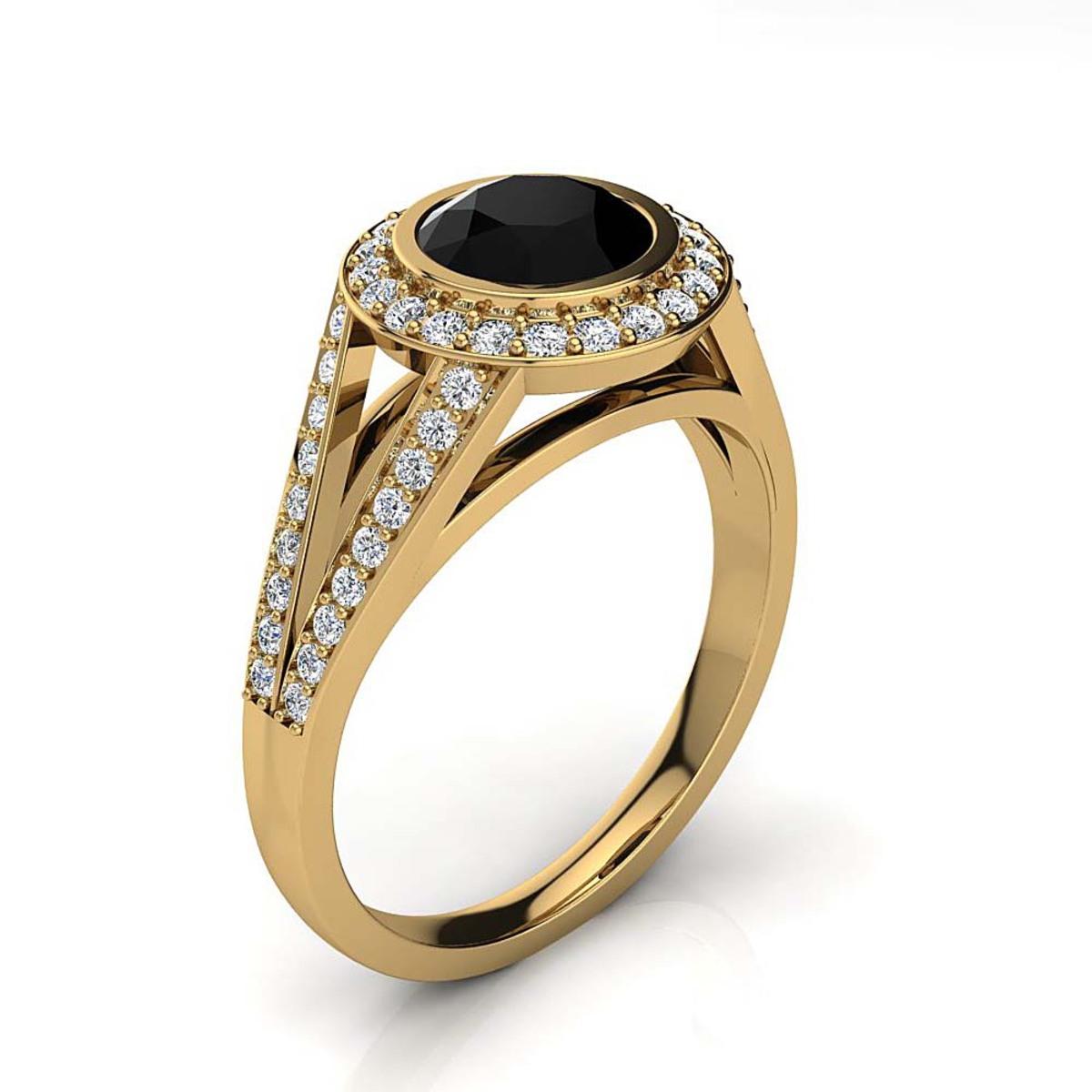 Halo White & Black Diamond Engagement Ring 1.35ct 14K Gold by Luxurman