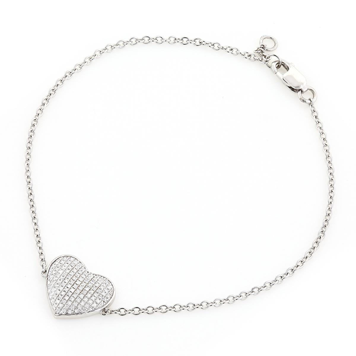 Heart Bracelets 10K Gold Diamond Heart Bracelet 1/5ct