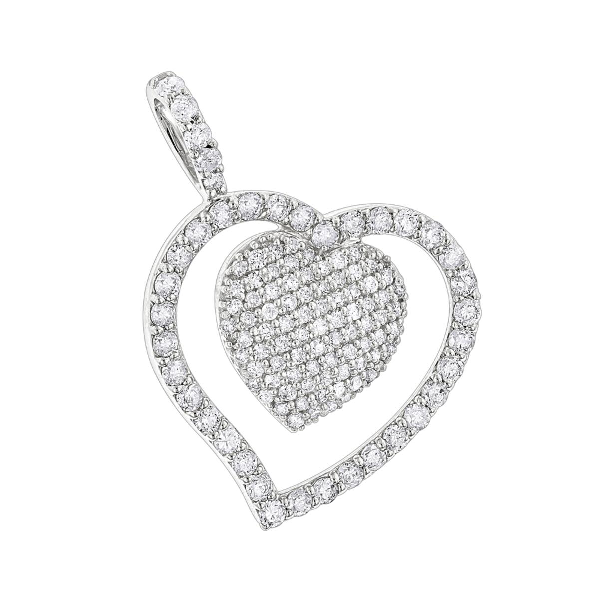 Heart Jewelry 14K Designer Diamond Heart Pendant 0.9ct