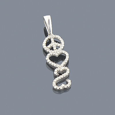 Heart Peace Sign Diamond Pendant 0.29ct Sterling Silver