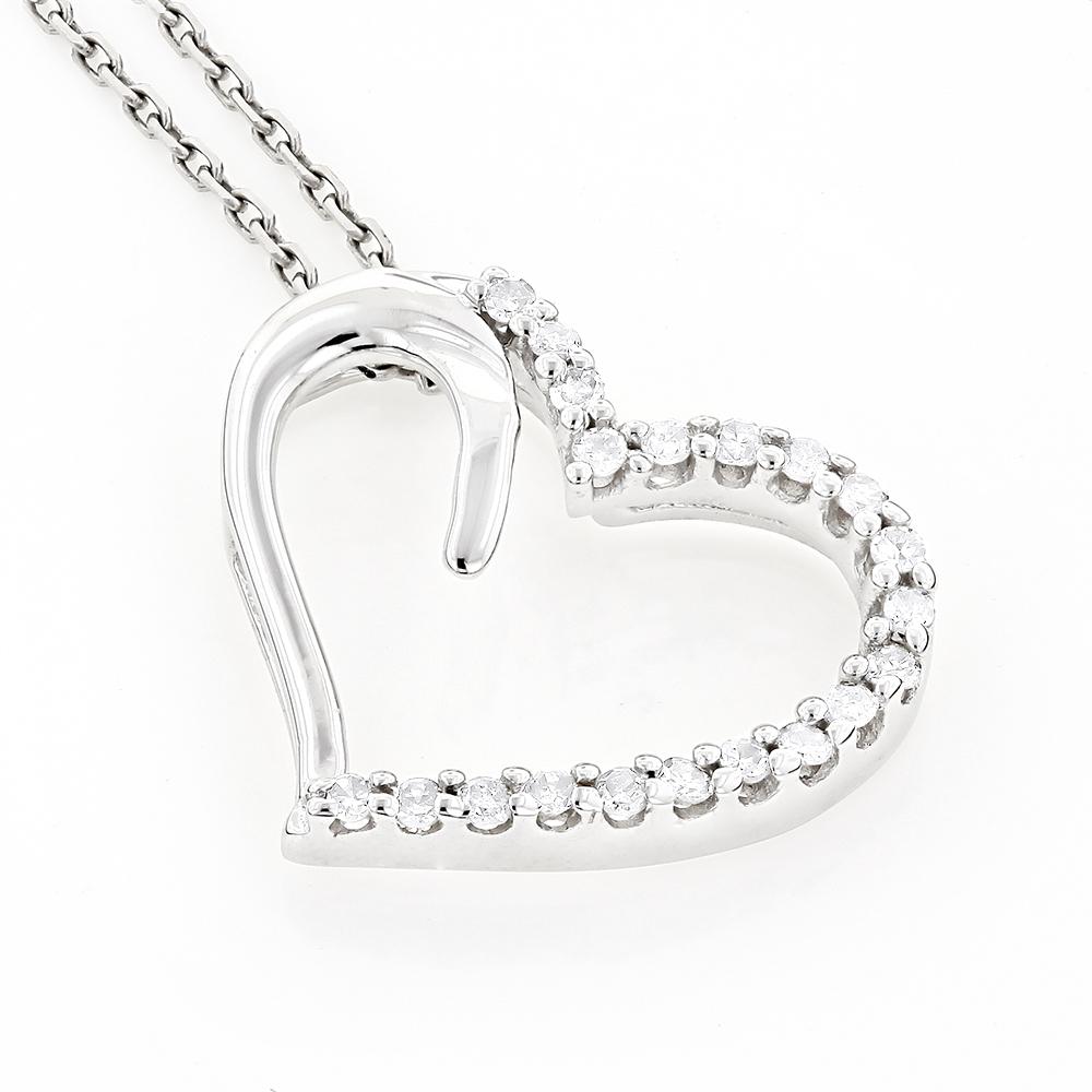 Heart Pendants 10K Gold Diamond Floating Heart Pendant 0.2ct
