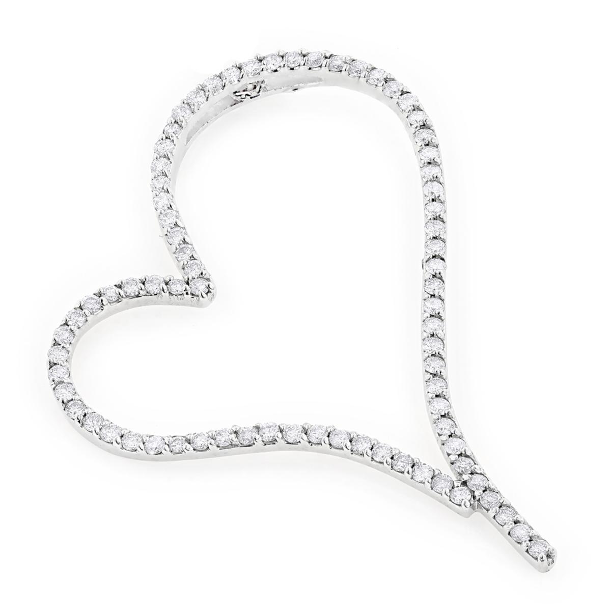 Heart Pendants 14K Gold Diamond Heart Pendant 2.47ct