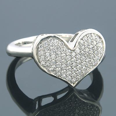 Heart Rings 14K Gold Designer Diamond Heart Ring 0.43ct