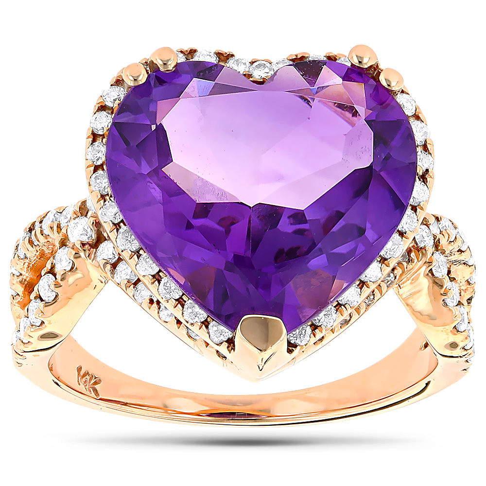 Heart Shaped Amethyst Ring with Diamonds 0.69ct 14K Rose Gold
