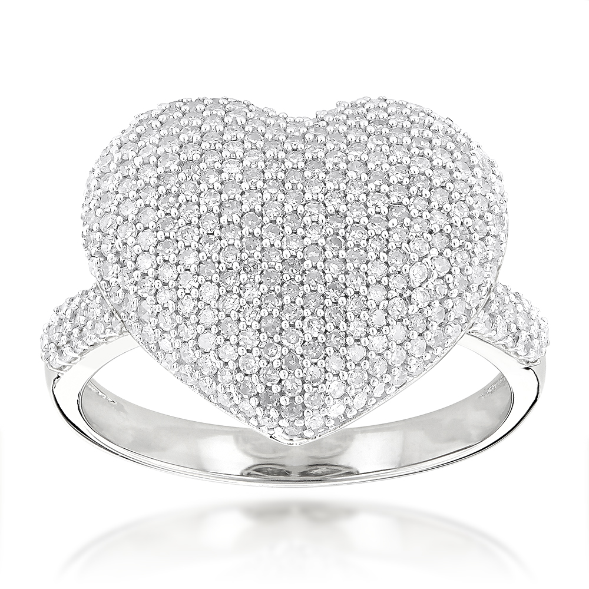 Heart Shaped Jewelry: 14K Gold Diamond Heart Ring 1.15ct