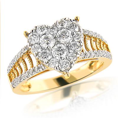 Heart Shaped Jewelry: 14K Diamond Heart Ring 1.5ct