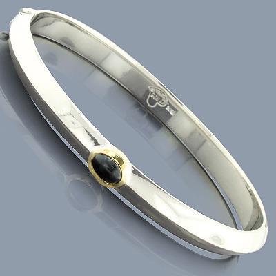 Hematite Bangle Bracelet in Sterling Silver 18K