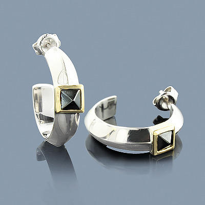 Hematite Earrings in Sterling Silver 18K Gold