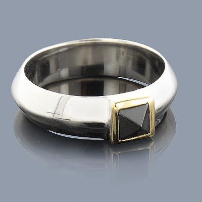 Hematite Ring in Sterling Silver 18K Gold