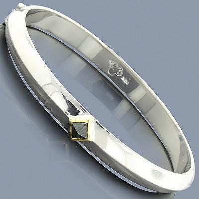 Hematite Sterling Silver Bangle Bracelet 18K
