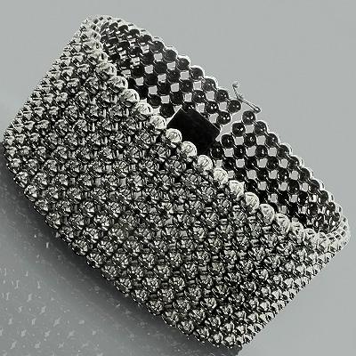 Hip Hop Jewelry 10K Custom 9 Row Black Diamond Bracelet