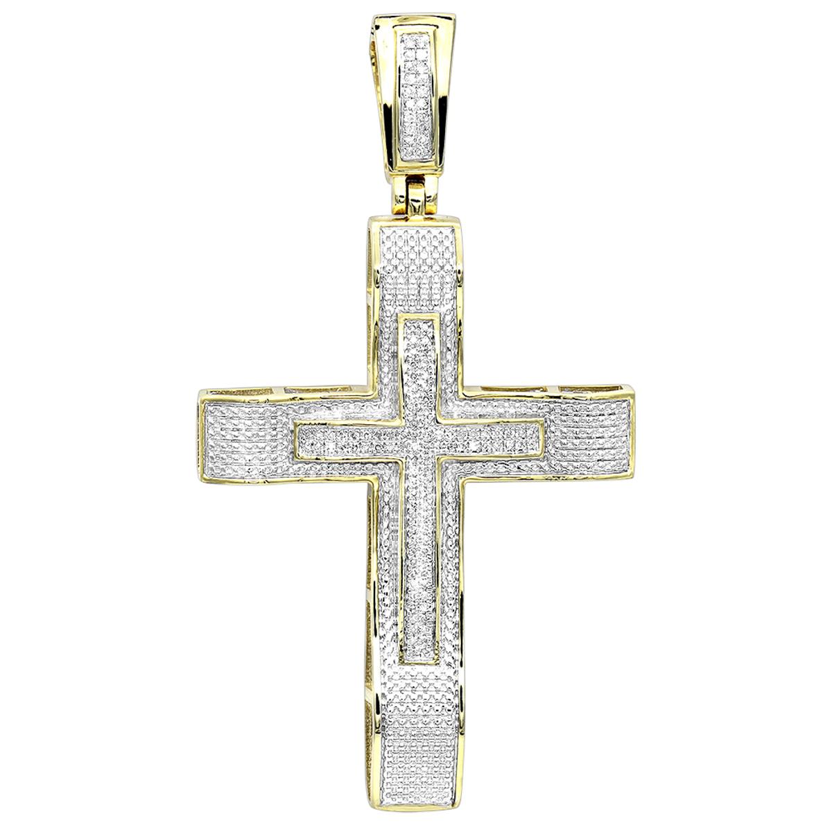 Hip Hop Jewelry 10K Gold Large Diamond Double Cross Pendant for Men 0.4ct