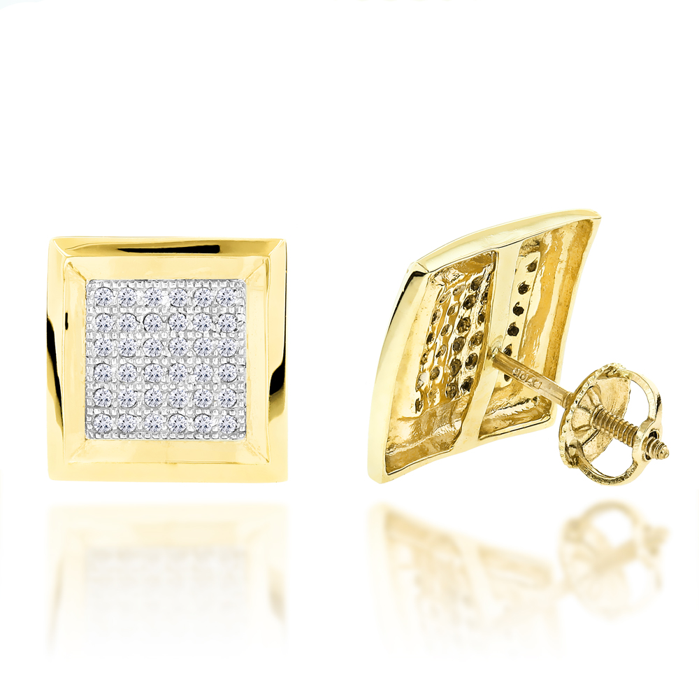 Hip Hop Jewelry 10K Gold Pave Diamond Square Stud Earrings 039ct