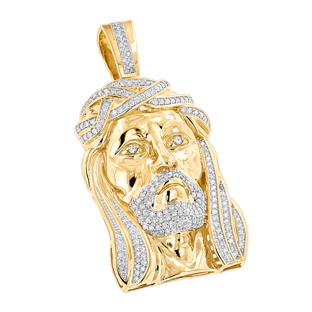 Hip Hop Jewelry: Diamond Jesus Face Pendant 3.55ct