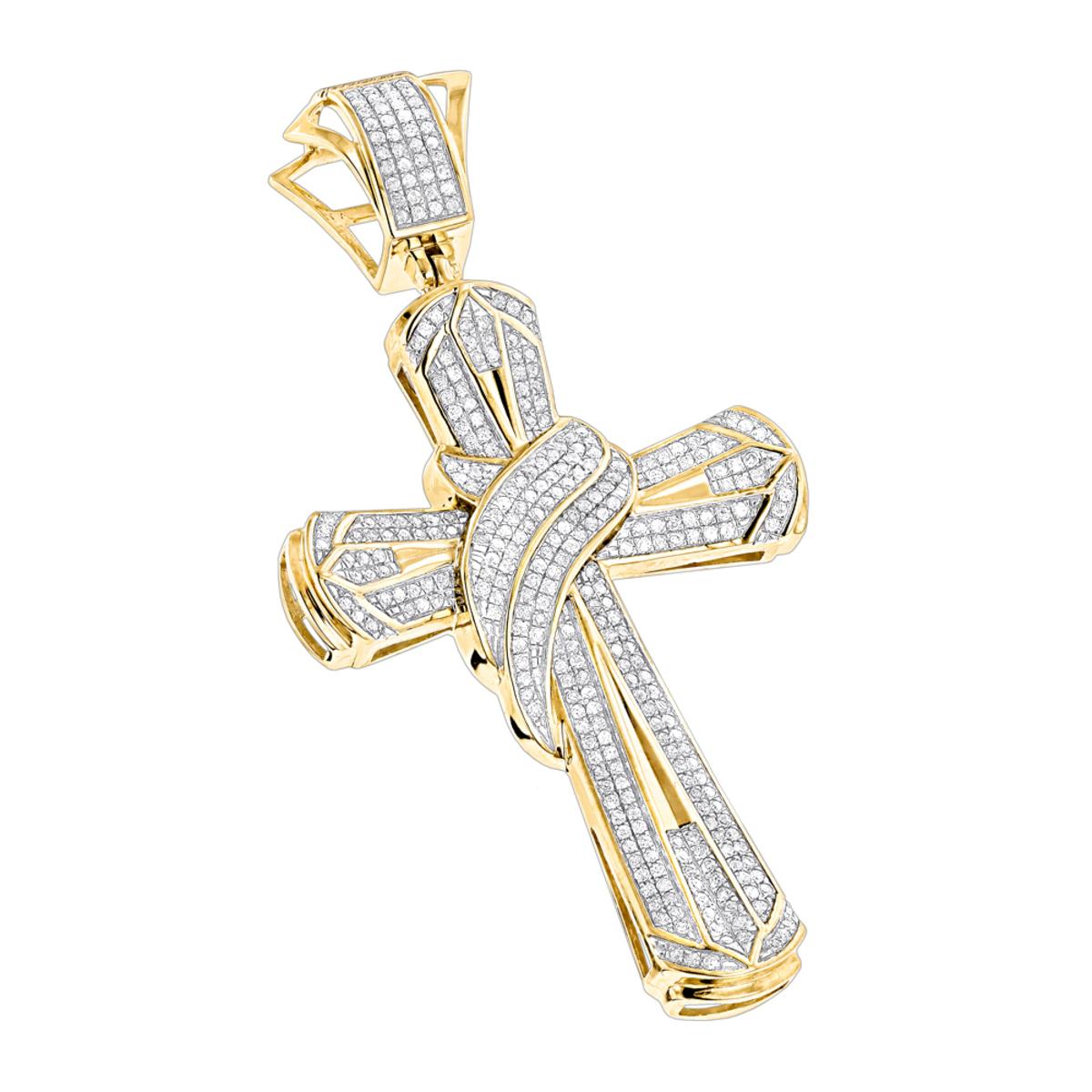Hip Hop Jewelry Large 10K Gold Mens Diamond Cross Necklace Pendant
