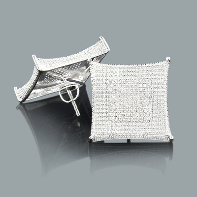 Hip Hop Jewelry: Large Diamond Stud Earrings 0.45ct Silver