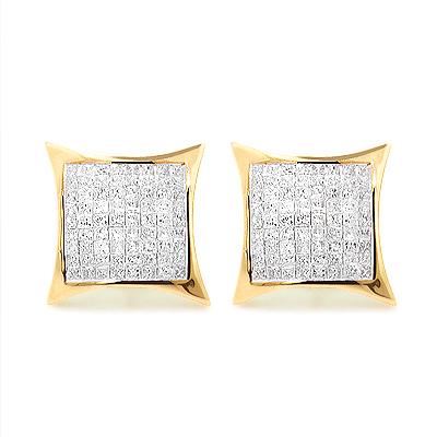 Hip Hop Jewelry: Large Princess Cut Diamond Earrings 1.95ct 14K Gold