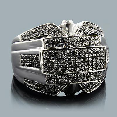 Hip hop jewelry mens black diamond ring 125ct silver aloadofball Images