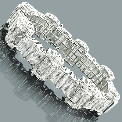 Hip Hop Jewelry: Mens Diamond Bracelet 3.50ct Silver