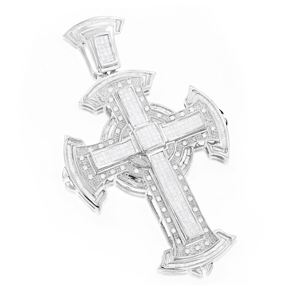 Hip Hop Jewelry: Mens Diamond Cross Pendant 2.97ct