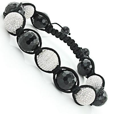 Hip Hop Jewelry: Mens Disco Ball White Crystal Bracelet