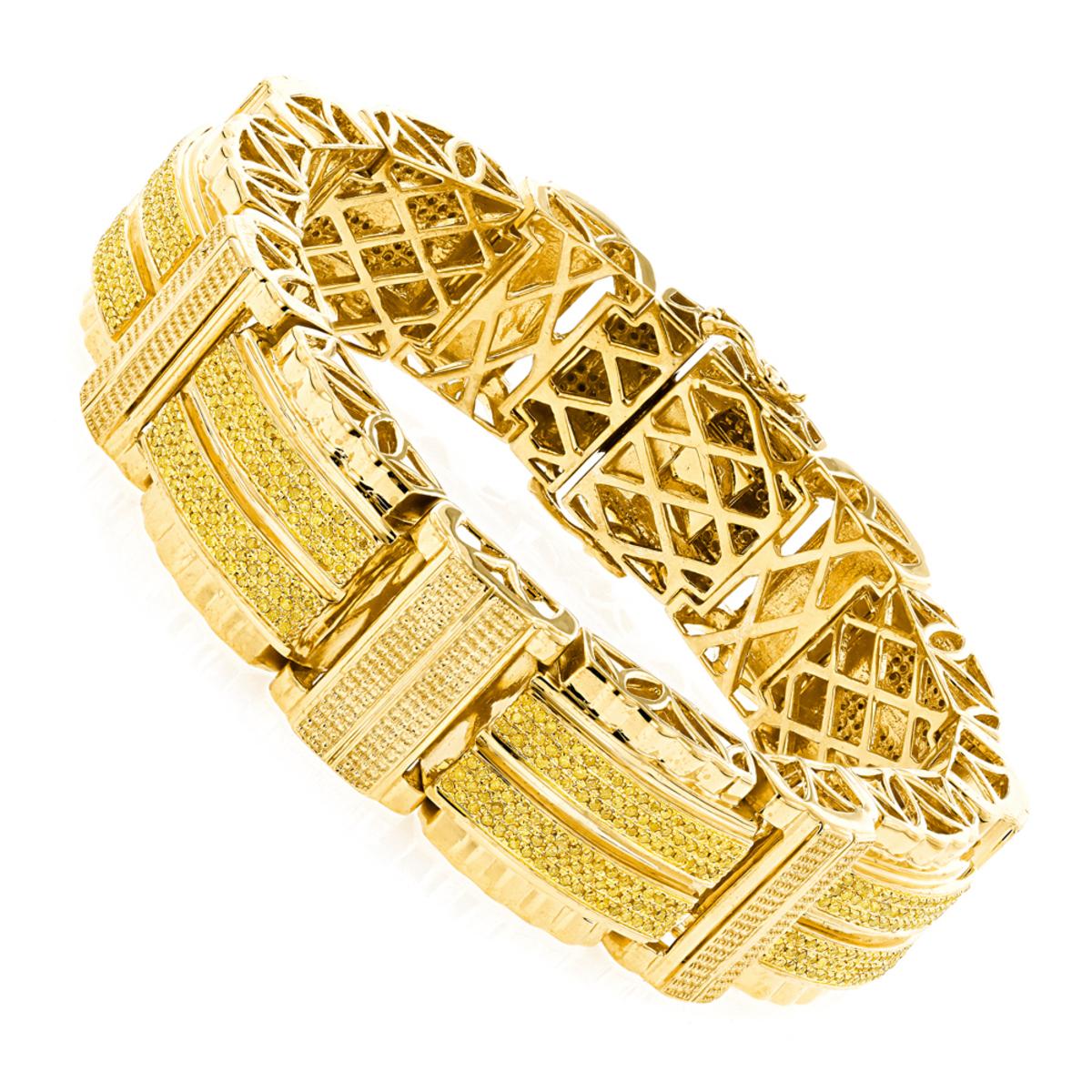 Hip Hop Jewelry Mens Yellow Diamond Bracelet in Sterling Silver ...
