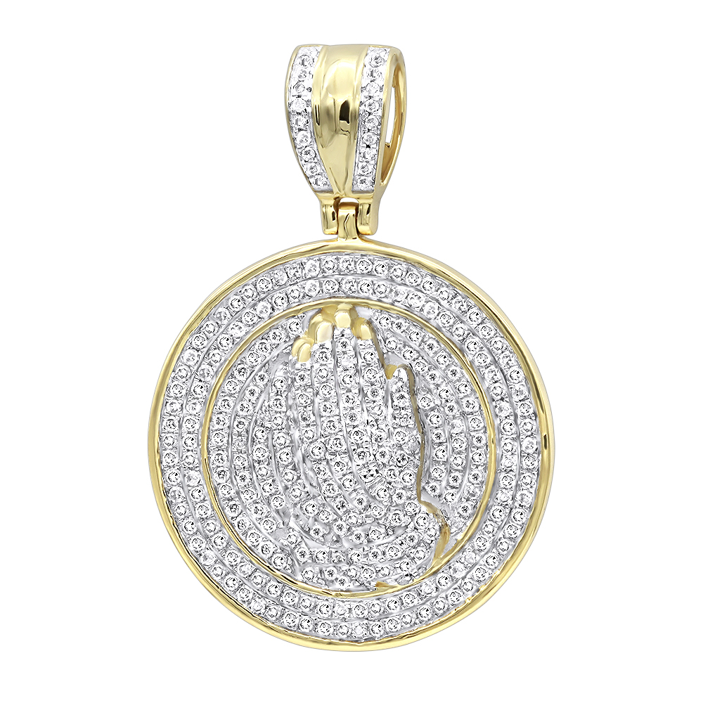 Hip hop jewelry praying hands diamond pendant for men 14k gold hip hop jewelry praying hands diamond pendant for men 14k gold medallion mozeypictures Image collections