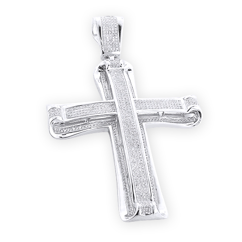 Hip Hop Jewelry: Silver Mens Diamond Cross Pendant 1.76ct
